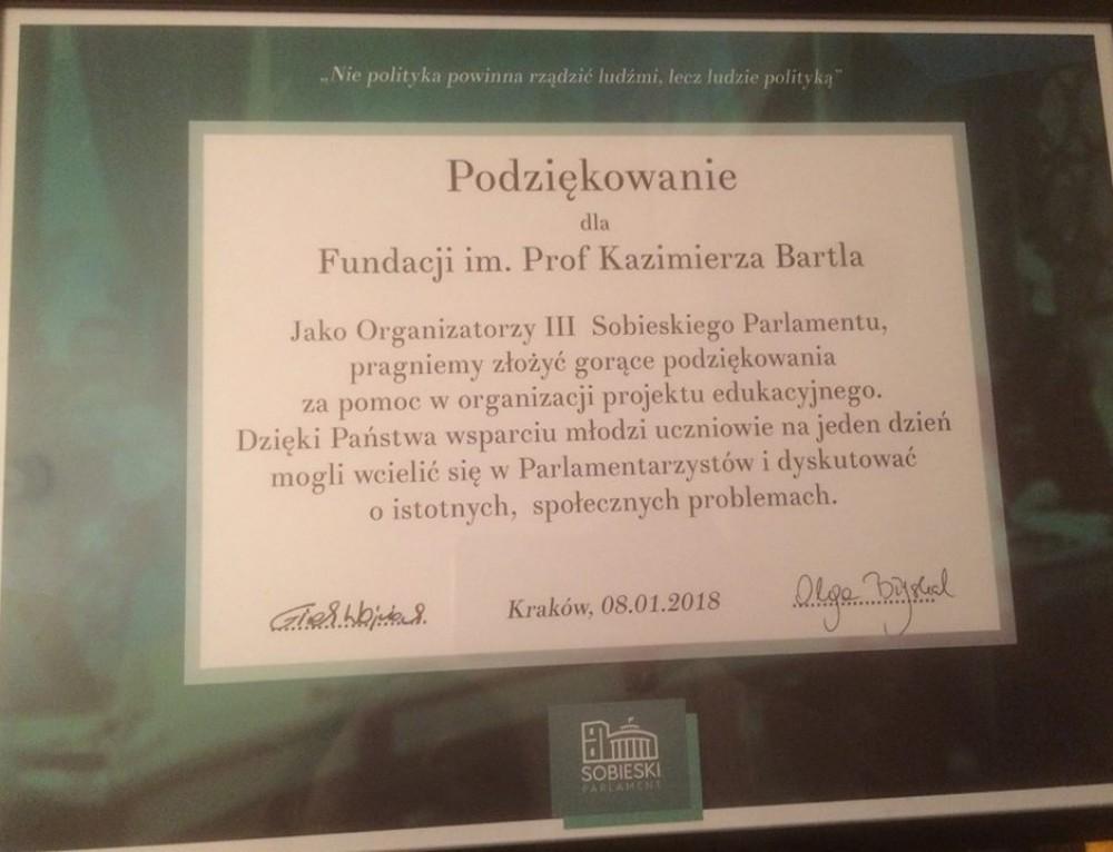 Podziękowania za Parlament Sobieskiego